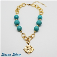 14K Goldplate 16 inch chain necklace with a horse medallion and big turquoise beads