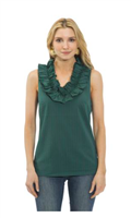 ladies blue and green sleeveless ruffle top