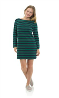 Navy and hunter green long sleeve stripe dress with stretch