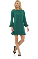 ladies green double ruffle dress