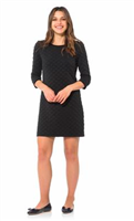 ladies black textured dress with velvet trim