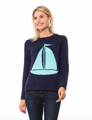 ladies blue cotton sweater with sailboat