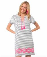 ladies terry blue and white stripe dress with embroidered hot pink trim