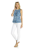Sleeveless cotton top in a sunburst print with white fringe at the neck and hen