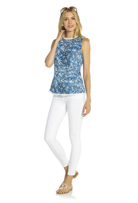 Sleeveless cotton top in a sunburst print with white fringe at the neck and hem from Sail to Sable