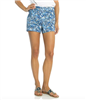 3 inch cotton flat front shorts in a sunburst print
