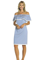 light blue and white stripe summer off the shoulder dress