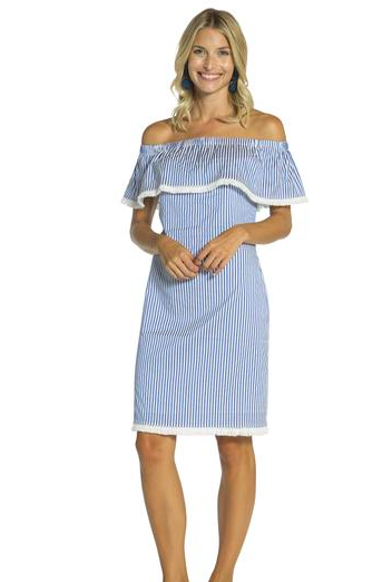 07093986f314 Sail to Sable Shirting Stripe Off The Shoulder Dress - preppy summer ...