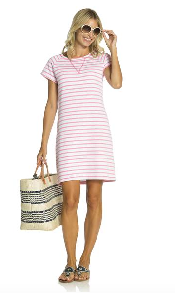 57073af67f4 White short sleeve french terry sheath dress with faded hibiscus stripse  with gold zipper on the
