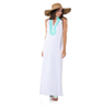 ladies french terry maxi dress with stripes