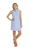 light blue 100% cotton sleeveless oxford shirting dress with 6 button from and button down collar