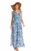 ladies cotton voile sleeveless maxi dress in fireworks print