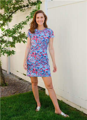 Ladies Short Sleeve Print Cotton Dress