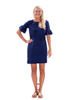 women's Nylon 3/4 ruffle sleeve dress in navy