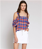 plais crinkle cotton bare shoulder top with tie detail on sleeve