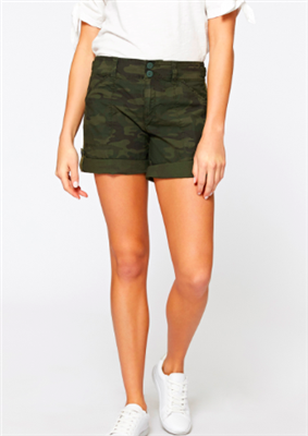 green camo cotton cuff and snap hem shorts