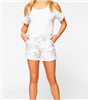 white camo cotton cuff and snap hem shorts