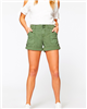 women's army green cotton cuff and snap hem shorts