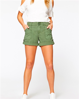army green cotton cuff and snap hem shorts