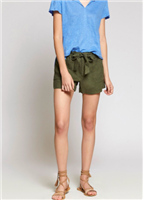 army green colored linen 3 inch shorts with a tie front detail