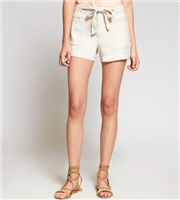 sand colored linen 3 inch shorts with a tie front detail