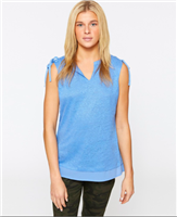 Blue linen sleeveless top with chiffon hem