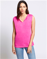 hot pink linen sleeveless top with chiffon hem
