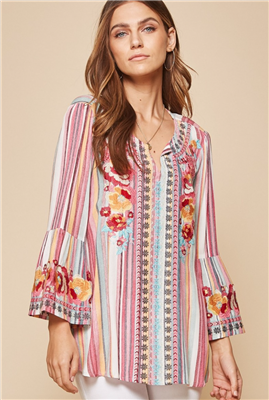 Ladies Bell Sleeve Stripe Blouse with Embroidery
