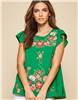 Ladies Green Embroidered Short Sleeve Top
