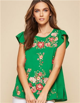 Green Embroidered Short Sleeve Top