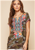 Camouflage Embroidered Short Sleeve Top