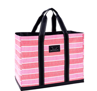 large poly woven tote bag in pink stripes