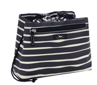 coated cotton black and white drawstring make-up bag