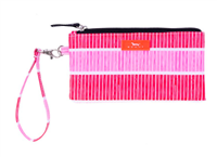 coated cotton pink and white stripe wristlet