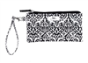 coated cotton black and white wristlet