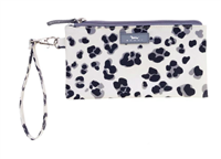 coated cotton black and white animal print wristlet