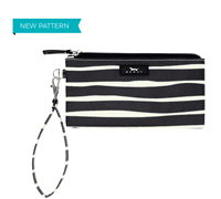 coated cotton black and white stripe wristlet