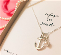 sterling silver 18mm anchor charm with a tiny hand-wrapped Swarovski pearl on an adjustable 16 inch cable chain