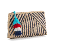 jute clutch bag with black stripes that measure 12 inches by 6 inches with tassel top zip