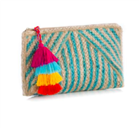 jute clutch bag with turquoise stripes that measure 12 inches by 6 inches with tassel top zip