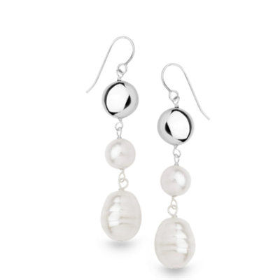 ladies white shell pearl drop earrings