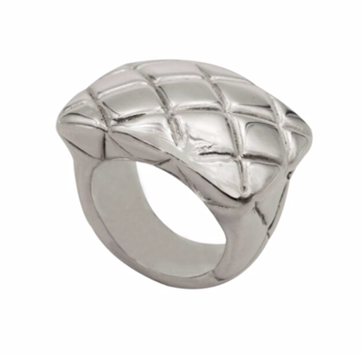 ladies sterling silver quilted ring