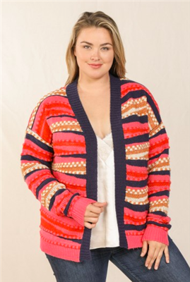 ladies plus size pink and navy open front cardigan sweater
