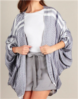 blue and white jacquard kimono jacket