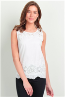 white cotton sleeveless top with lace trimmed yoke and hem
