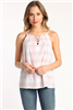 ladies white cami top with red plaid detail