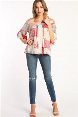 ladies floral printed off the shoulder bell sleeve top