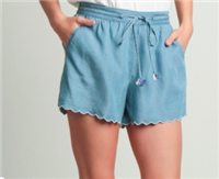light blue shorts with a 3 inch inseam, scalloped edges, elastic back and drawstring front
