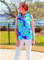 polyester sleeveless top with ruffle front and gold buttons in aloha print