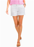 Cotton spandex blend ladies 5 inch inseam white shorts with a flat front and front and back pockets